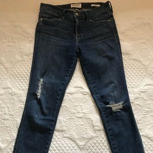 Frame denim blue jeans-distressed in front